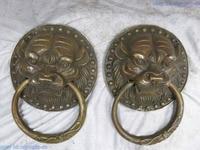 10 China brass copper finely exorcise evil spirits tiger knocker Sculpture