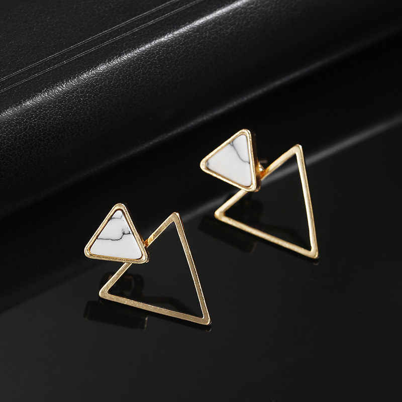 2018 fashion Korean simple design geometric triangle marble Stud earrings wedding party jewelry