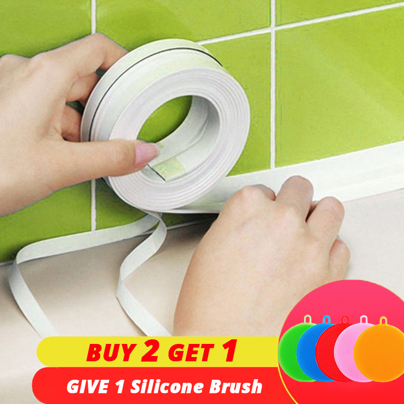 PVC Adhesive Tape Durable Use 1 ROLL Kitchen Bathroom Wall Sealing Tape Gadgets Waterproof Mold Proof 3.2mx3.8cm/2.2cm(China)