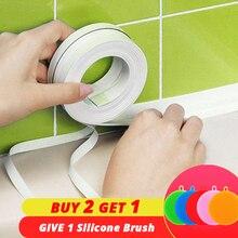 ПВХ клейкая лента прочное использование 1 рулон кухня ванная стена уплотнительная лента гаджеты водонепроницаемый Плесень Доказательство 3,2 м x 3,8 см/2,2 см