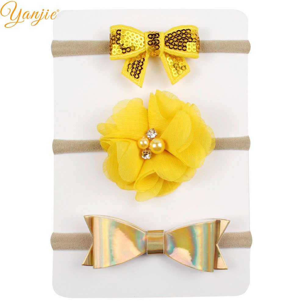 10pcs/set Hot sale Cute Leather Hair Bow Flower Elastic Girl Nylon