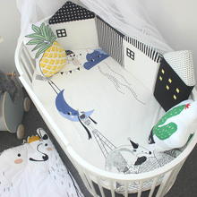 4 Pcs /Sets Baby Bed Bumper Cartoon Small House Shaped Crib Bumpers Infant Anti-collisione Crib Supplies