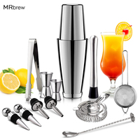 13Pcs/Set Stainless Steel Cocktail Shaker Ice Tong Mixer Drink Boston Bartender Browser Kit Bars Set Professional Bartender Tool