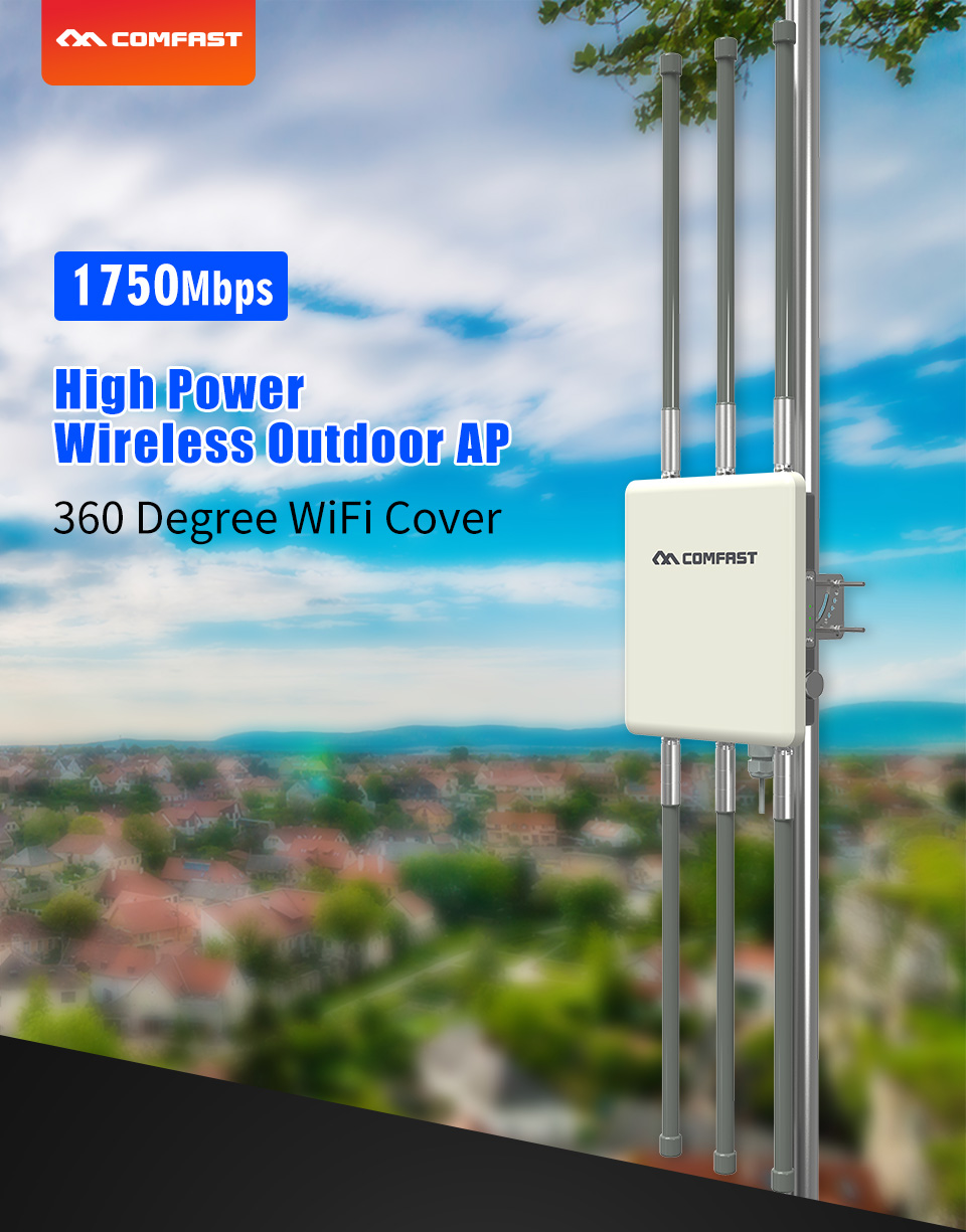 Comfast 1750Mbps Dual Band 2.4G&5.8G Outdoor CPE Signal Hotspot Amplifier Long Range 360 Degree WiFi Cover Base Station WA900V2|Wireless Routers| |  - title=