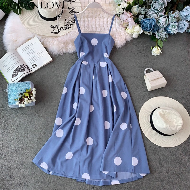 OCEANLOVE Dress Women 2020 Summer Korean Vestidos A-line Korean Fashion 2020 Knee-length Dresses Backless Ropa Mujer 12135