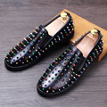 Spring Fashion Men Genuine leather Loafers Casual Driving shoes Male Rivet Boat shoes Slip On Flats Youth chaussure homme 022