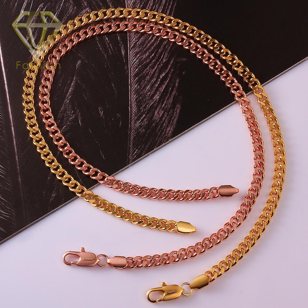 Male Wedding Bands Necklace 6mm 45cm Trendy Rose Gold Color Long Chains Fashion Uni Jewelry Accessories For Women Men In Chain Necklaces From