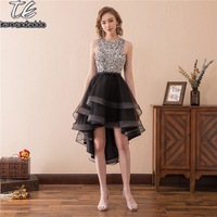 O Neck Silver Sequin Beading Black High Low Cocktail Dress Front Short Long Back Design Homecoming