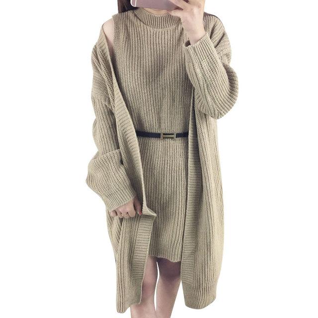 2017 Sólido de La Manera de la Rebeca Femenina Dos Conjuntos Traje de la Mujer Suéter Largo Suéter de las Rebecas de Otoño Pullover Fajas Chaleco Suéteres Casuales