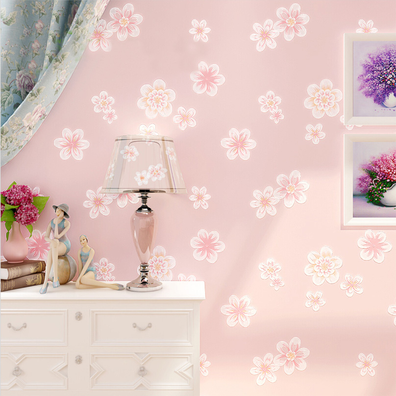 Pastoral Floral 3D Embossed Non-woven Wallpaper Roll Boys And Girls Children's Room Bedroom Sofa TV Background Wall Covering