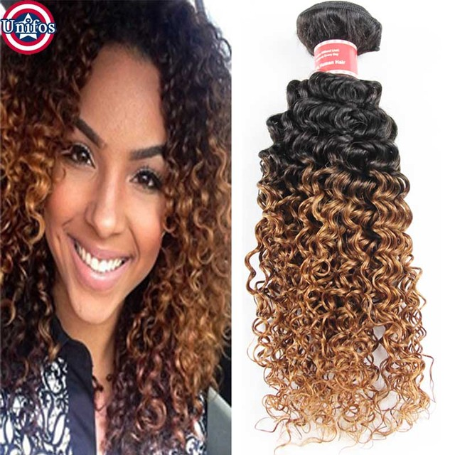 Ombre Malaysian Curly Hair Weave Ombre Hair Extensions Two Tone