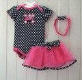 2016 Новая Мода детская одежда установить короткий рукав печать футболки + платье 3 шт. bebe девочка одежда набор