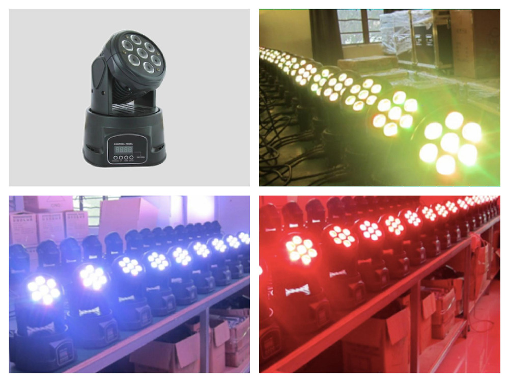 8pcs/lot, Mini LED Moving Head Wash 7x10W RGBW 4in1 or 7x15w RGBWAUV 6in1 Lighting DMX DJ Stage Disco Party Event light