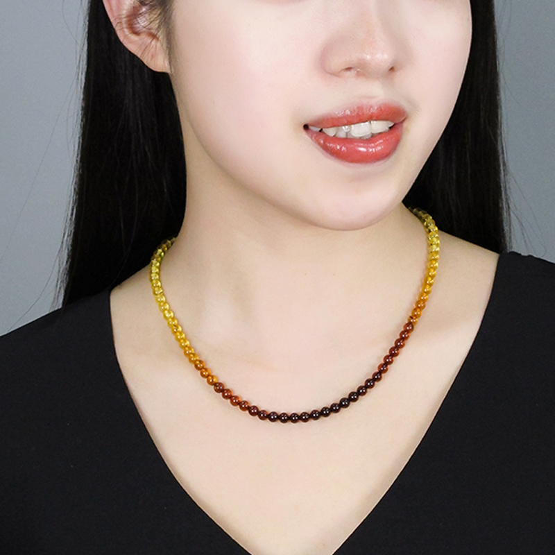 Image 4 - Yoowei 5mm Amber Necklace for Etsy Original Round Beaded Jewelry 