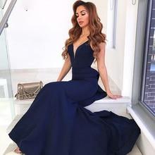 V-Neck Open Back Sleeveless Satin Long Prom Dresses robe de soireeNavy Blue Mermaid Formal Dress Elegant Evening Gown 2018