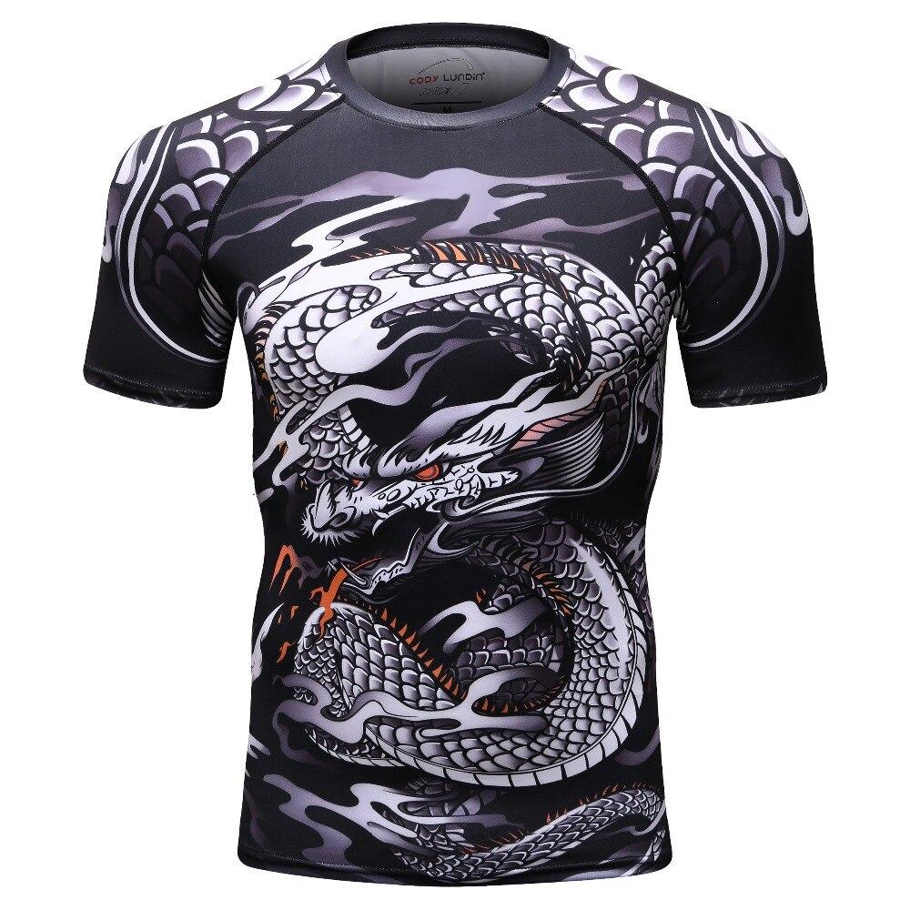2018 new t shirt men GYMS compression shirt T-shirt Mens Dragons Flight Short Sleeve Rash Guard tops T-shirt