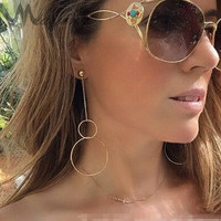 Simple Style Gold Copper Lightweigth Double Circles Chain Stud Earrings For Women Long Drop Earings Evening