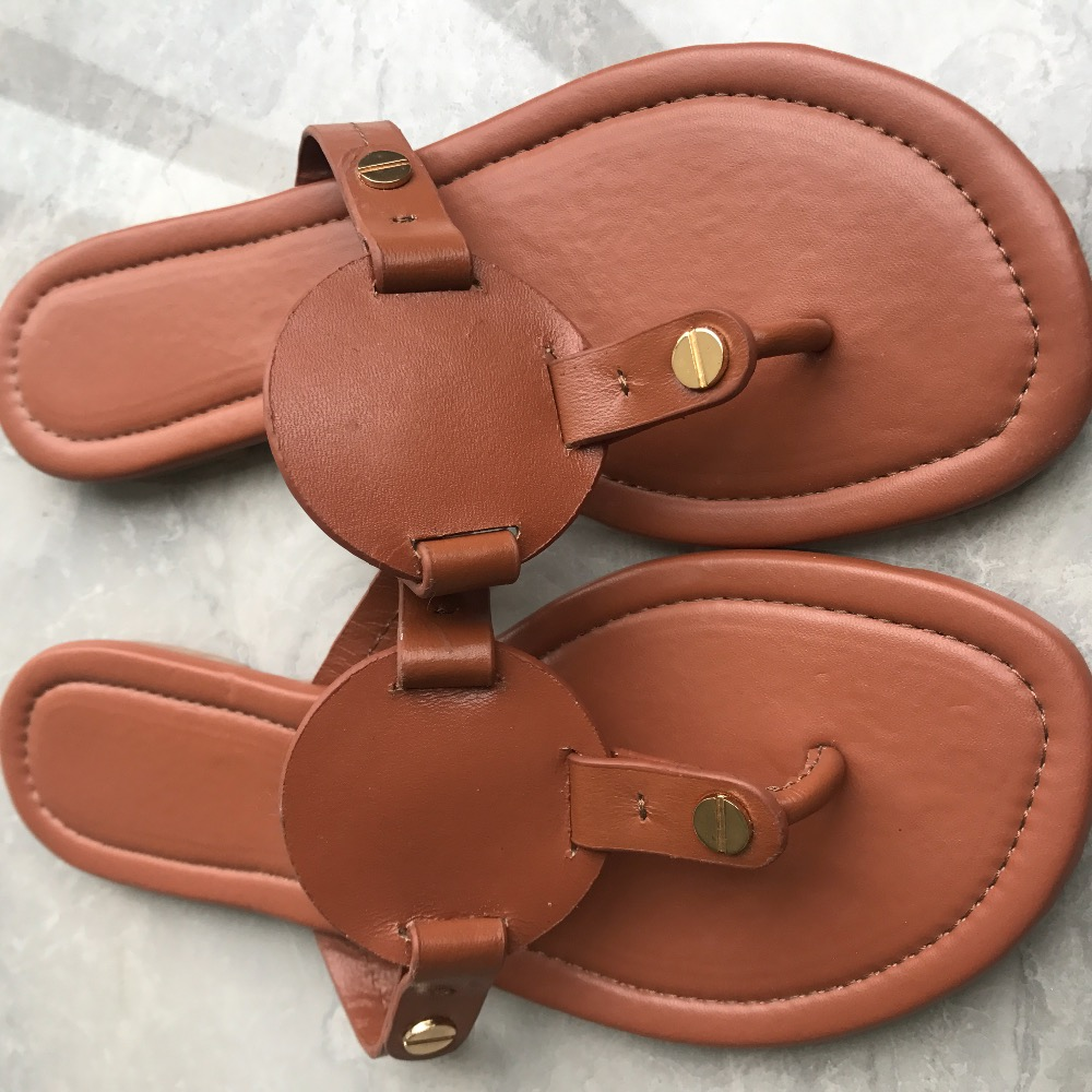 11 Colors Women Plus Size US4-11 Flip Flops Classical Lady Miller Sandals Genuine Leather Slides With Gold Metal Slippers