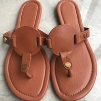 18 Colors Women plus size US4 11 Flip Flops Classical Lady Miller Sandals Genuine Leather Slides with Gold Metal Slippers