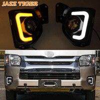 JAZZ TIGER 2PCS Yellow Turn Signal Function 12V Car DRL LED Fog Lamp LED Daytime Running Light For Toyota Hiace 2014 2018