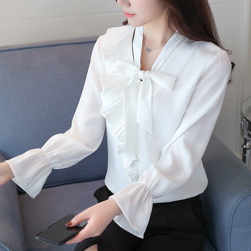 2017 fashion Women shirts white ruffled Long Sleeve Womens chiffon Tops Ladies Shirts Autumn Bow Tie Front Elegant Blouse 606E