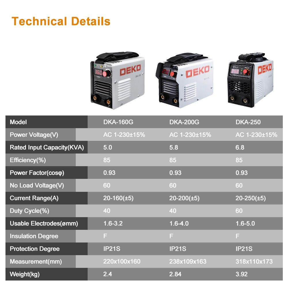 DEKO DKA Klassische Serie DC IGBT Inverter ARC Schweißer 220V MMA Schweißen Maschine 120/160/200/250 Amp für Home DIY Anfänger