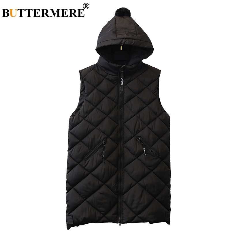 BUTTERMERE Brand Women Black Padded Vests With Hood Cotton Long Plus Size Vests Women 5XL 2017 Korean Sleeveless Women Clothing