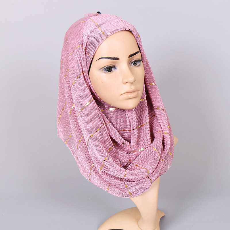 Image 2 - Beautiful! Magic filament Sequin Scarves Women Muslim Hijabs  Shimmer Lurex Long Shawl Wrinkled Islamic Wedding Veil Head  CoverWomens Scarves