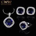 Alta Qualidade 925 Selo Prata Dark Blue Cristal Austríaco Conjunto de Jóias Mulheres Com Zirconia Cúbico Criado Diamante T259