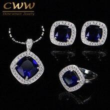 Alta Calidad 925 Sello de Plata Azul Oscuro Mujeres de Cristal Austriaco Joyería Conjunto Con Cubic Zirconia Diamante Creado T259