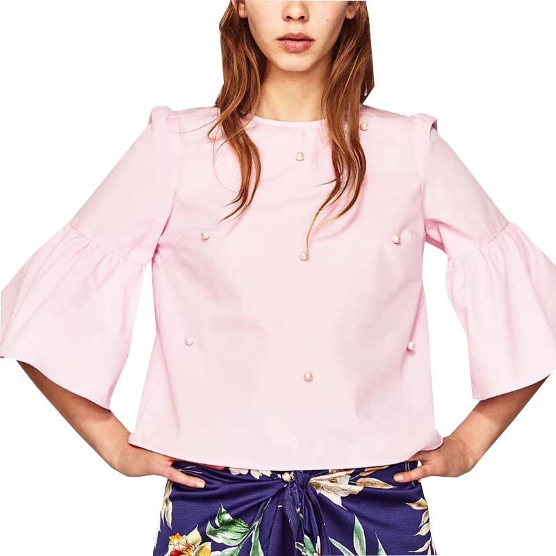 Original Women Blouse Fashion 2017 Summer Chiffon Blouse Short Sleeve Casual