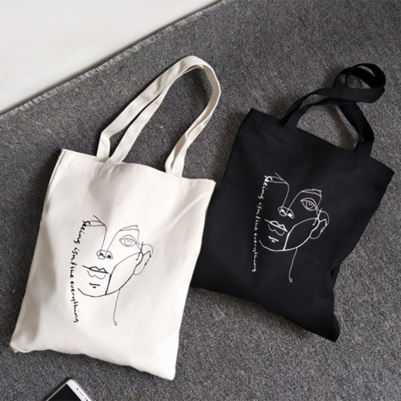 Abstract Printing Canvas Bag Women 2019 New Hot Fashion Casual Simple Students School Bags Shoulder Bags Handbags
