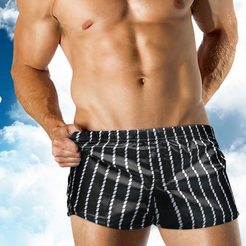 Summer New Men's Beach Black White Striped <font><b>Shorts</b></font> <font><b>Board</b></font> <font><b>Shorts</b></font> <font><b>Swimming</b></font> Trunk Quick Drying Swimwear Swimsuits image