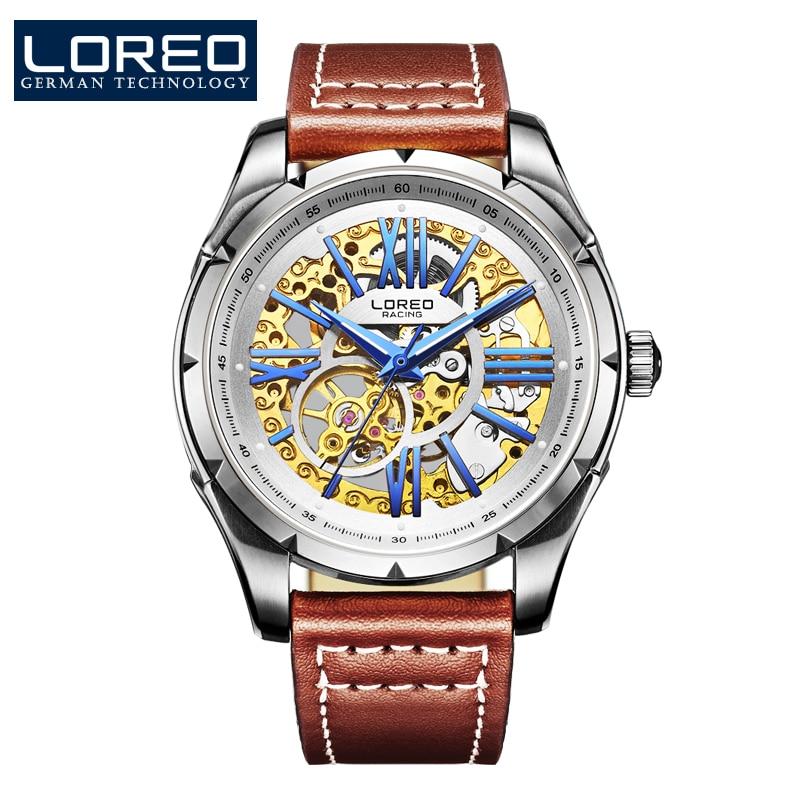 LOREO stainless steel stylish wrist watch classic mechanical dress skeleton hollow luminous waterproof wrist men leather Watch все цены