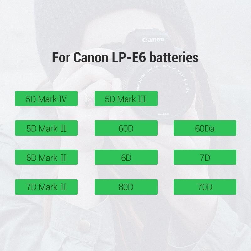 Ugreen LP-E6 Camera Battery 1865mAh for Canon LP E6 EOS 5D Mark 4/3/2 60D 5D4 70D 6D 6D2 5D2 7D 7D2 80D 5DS Camera Batteries 5