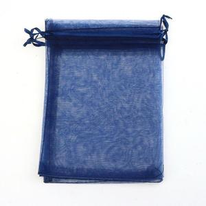 Image 2 - Wholesale 100pcs/lot 15x20cm Deep Blue Wedding Drawable Organza Voile Gift Packaging Bags Can Customized Logo Printing 02