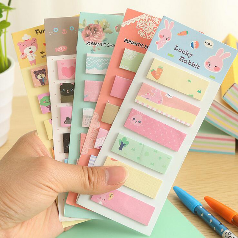 R31 Kawaii Cute Fresh Cartoon Self-Adhesive Memo Pads Sticky Notes Post It Bookmark School Office Supply Student Stationery
