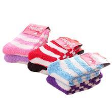 Color Random Cute Women Striped Socks Soft Fluffy Coral Velvet Winter Warm Home Indoor Floor Girls Terry Towel Fuzzy