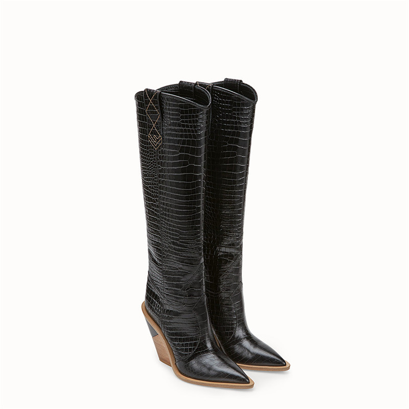 9c04ccb445f2 EMMA KING New Brand Design Snake Print Horse Heel Knee-High Boots Women Sexy  Slip-On Pointy Toe Stage Dress Party Women Booties