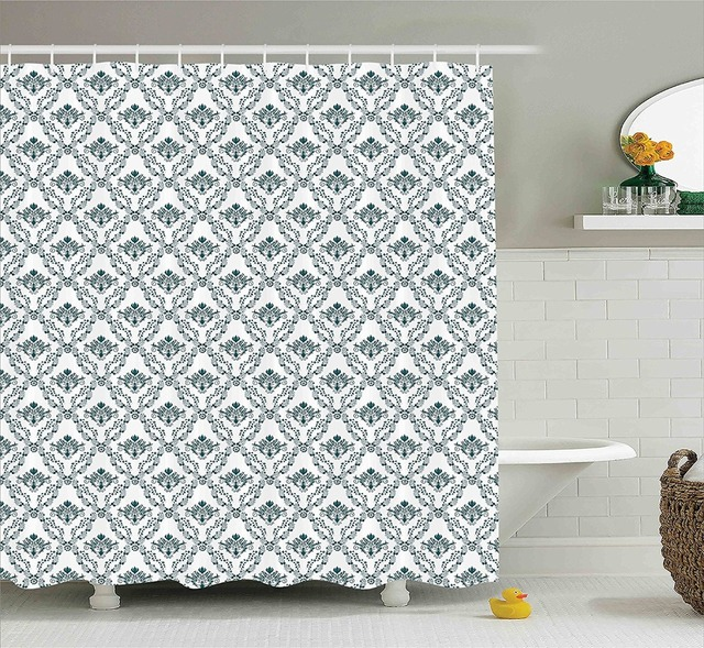 Victorian Leaves Old Classical Curvy Lines French Country Style Tiles Symbolic Silhouette Polyester Bathroom Shower Curtain