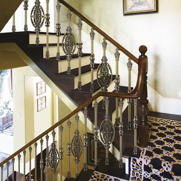 European Interior Design Classical Aluminum Stair Railing Antique | Antique Handrails For Stairs | Newel Posts | Wrought Iron Stair | Antique Wood | Antique Green | Wood