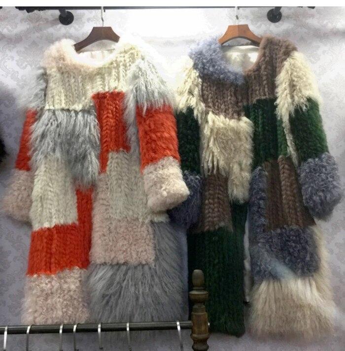 f32050cc5bf8 Nero Fxfurs il Colore Colorato Autunno Collare Lana 2018 Inverno A Coniglio  Di Maglia Lungo Beige Rotondo ...