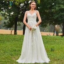 Dressv Long Wedding Dresses Simple V Neck Tulle Sleeveless Beading Lace A Line Garden Church Custom
