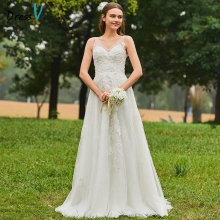 Dressv Long Wedding Dresses Simple V Neck Tulle Sleeveless Beading Lace A Line Garden Church Custom Elegant Wedding Dresses
