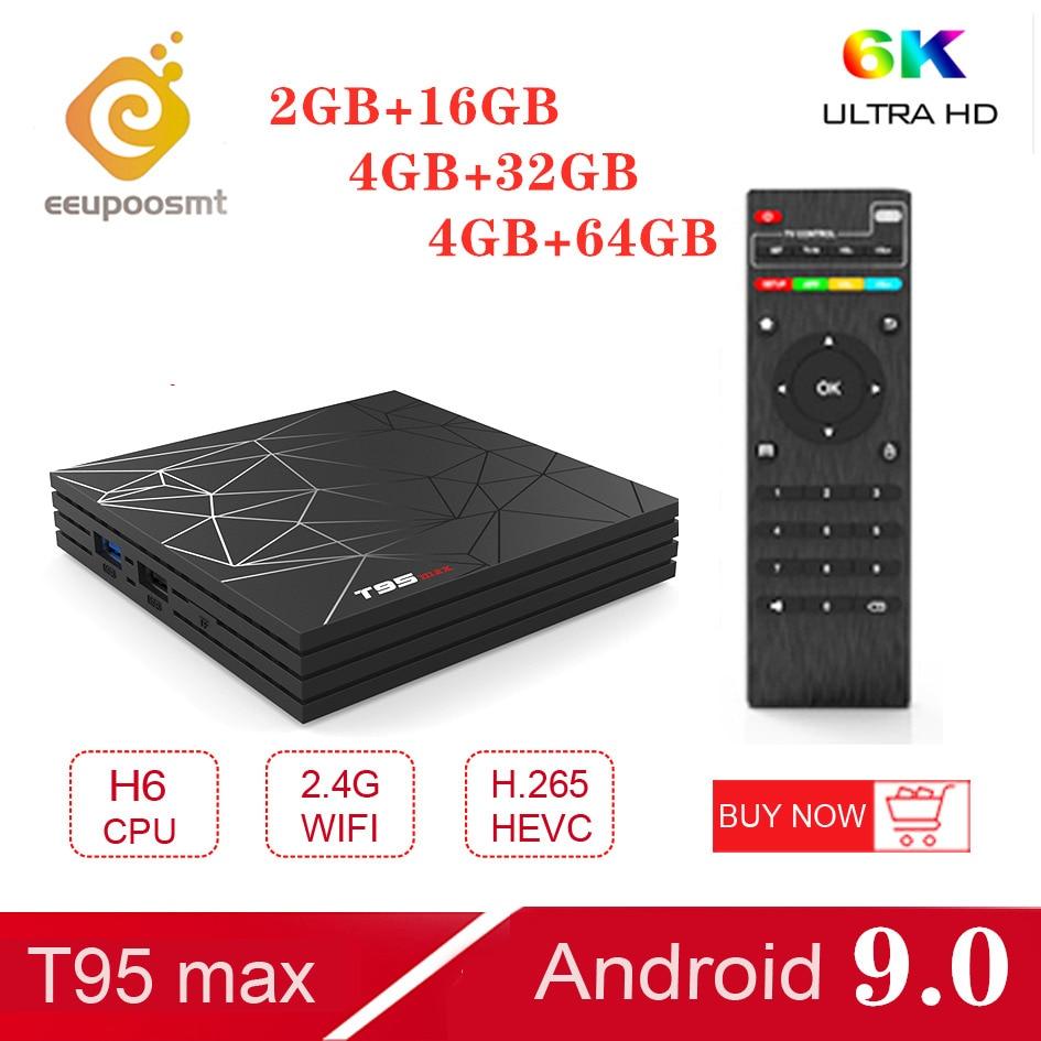 Android 9.0 TV Box 4GB 64GB T95 Max Smart TV BOX Allwinner H6 Quad Core 6K HDR 2.4GHz Wifi Google Player T95MAX décodeur