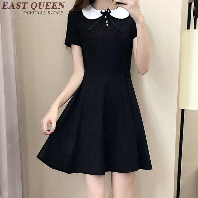 Vestido Negro De Cuello Blanco Vestidos De Punto 2019