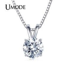 Classic Permanent 2ct Solitaire Hearts and Arrows CZ Pendant Necklace(Umode UN0047) цена