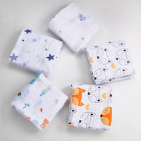 120 120cm Muslin Baby Blankets Cotton Newborn Baby Swaddles Double Layer Gauze Scarf Bath Towel Hold