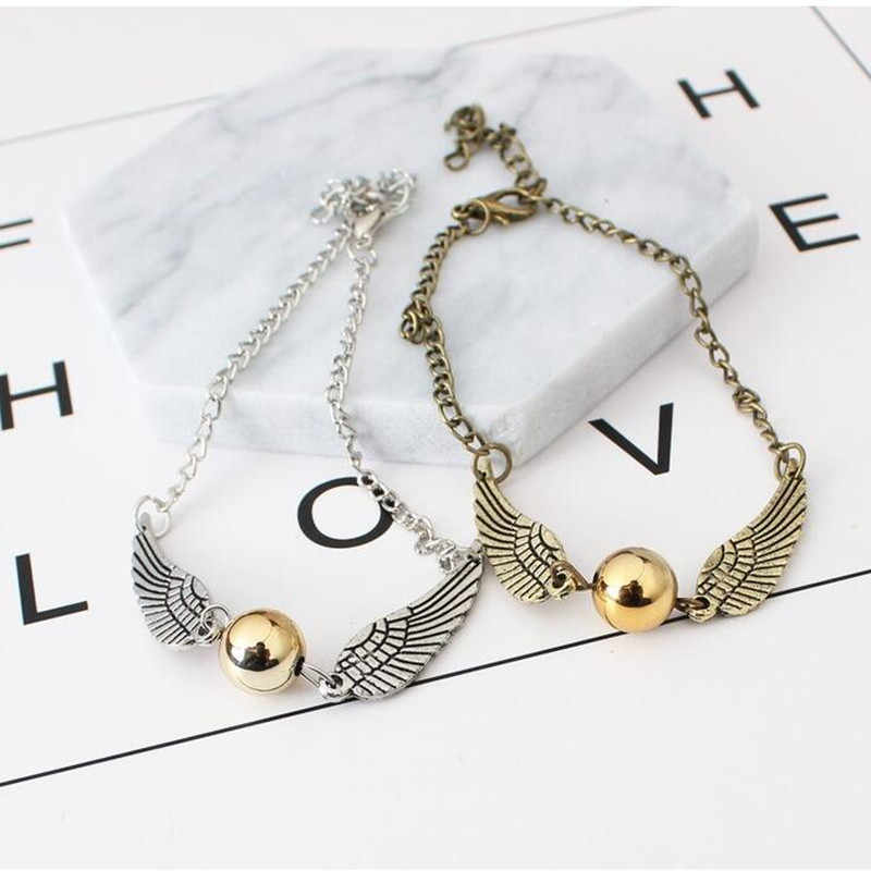 New Vintage Jewelry Retro Tone Golden Snitch Pocket Wings Bracelet pulseras For Men and Women Imitation pearl bracelet