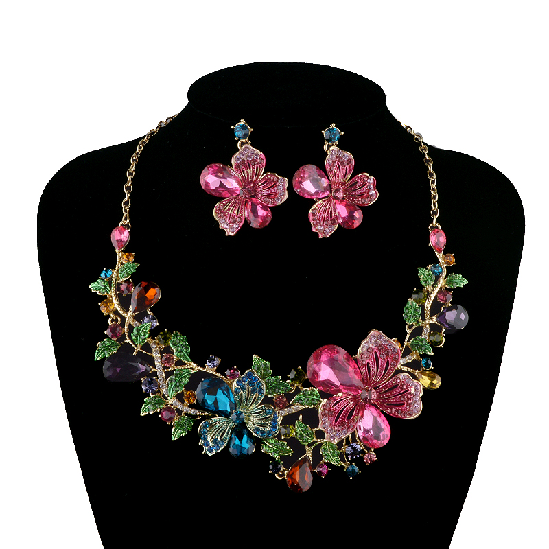 Rhinestone Jewelry sets Wedding Plants flower clolrful Necklace sets bridal Party Earrings sets Top quality Fashion